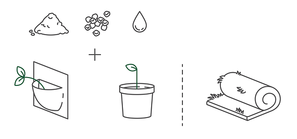 Different growth media in green walls: felt bags or pots (containing soil, stone or water), and mat.