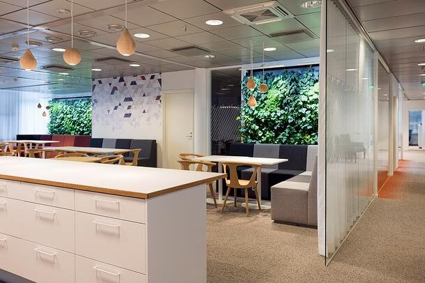 The smart green walls can be seen from anywhere in the office.