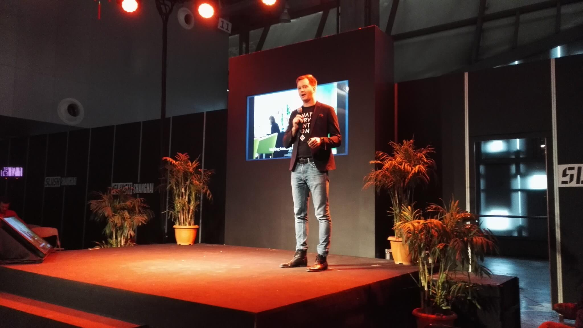 Aki Soudunsaari on stage at Slush Shanghai
